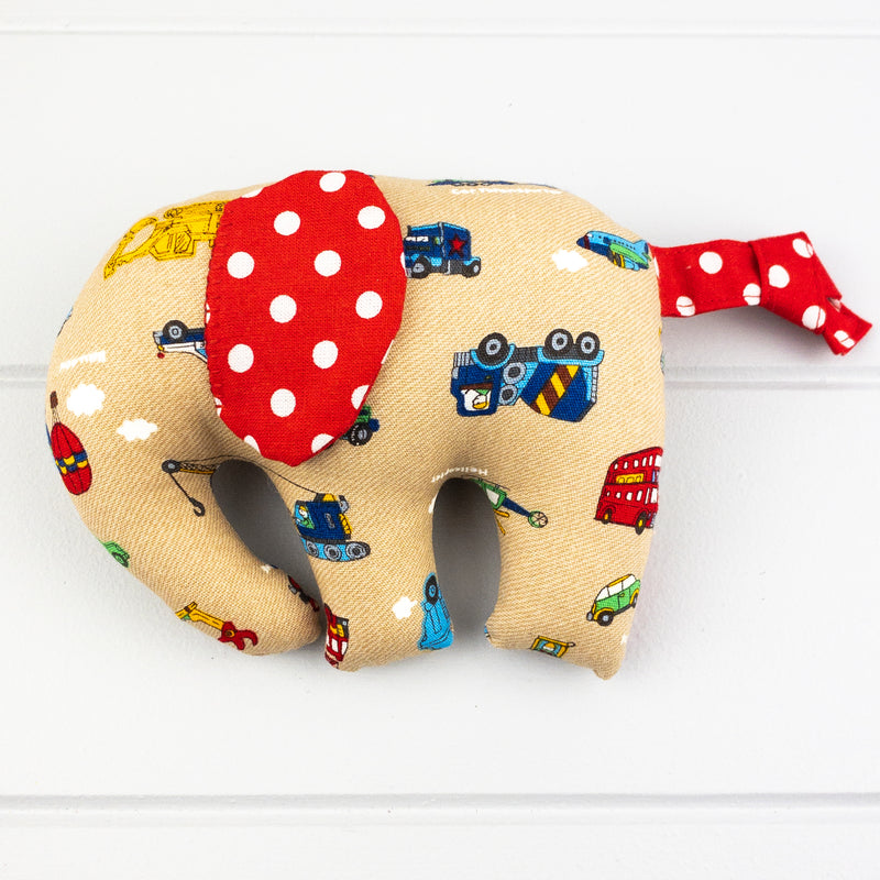 Elephant Softie, small - Vehicles fabric
