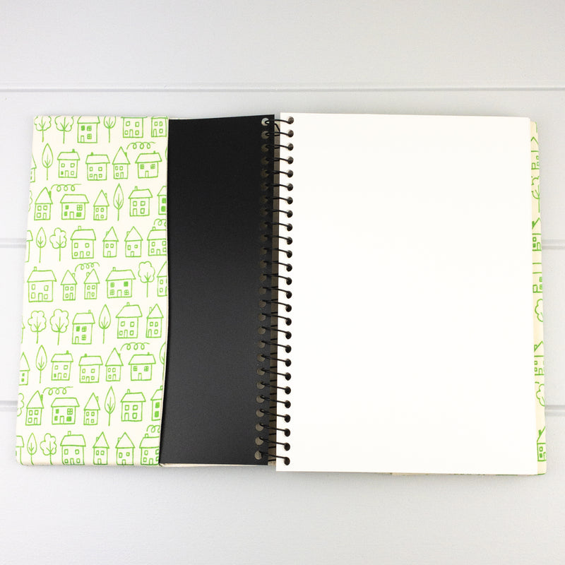 Fabric Covered Journal - Green Houses fabric