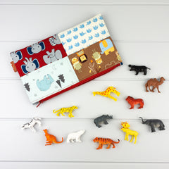 Zip Pouch - Animal fabric, red zip & Toys