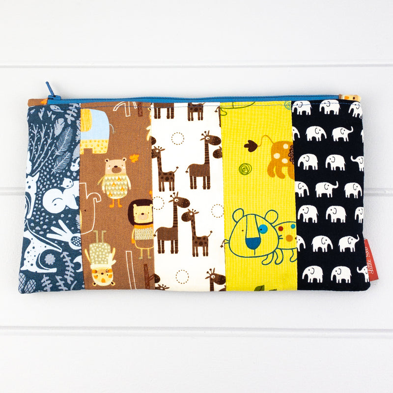 Zip Pouch - Animal fabric, blue zip & Toys