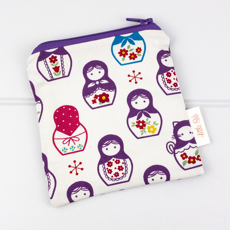 Zip Pouch - Purple Babushka fabric