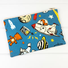 Zip Pouch - Blue Space Explorer fabric