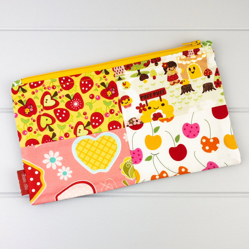 Zip Pouch - Fruit fabric, yellow zip & Wooden Flower/Butterfly Beads