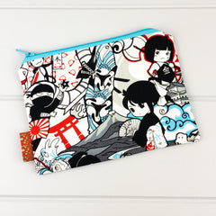Zip Pouch - Ninja Warrior fabric