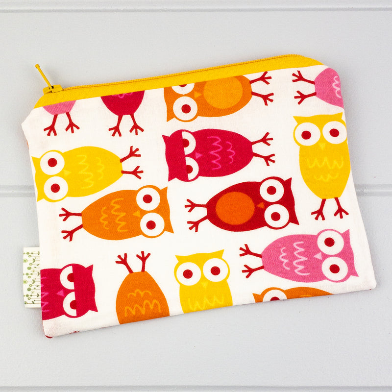 Zip Pouch - Owl fabric