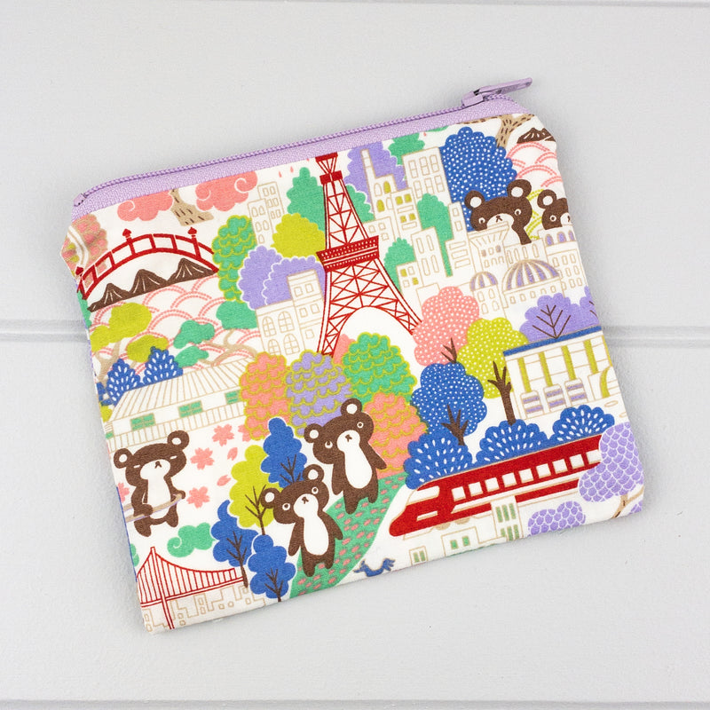 Zip Pouch - Traveling Bears fabric
