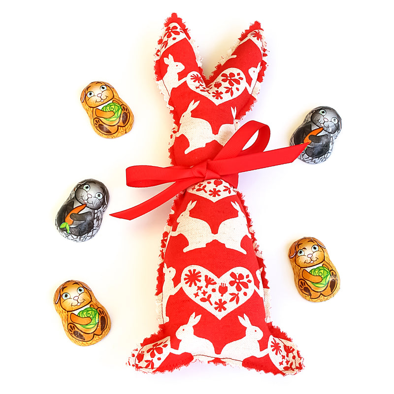 Easter Bunny Softie - Red Rabbit fabric