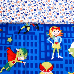 Kids Bag - Blue Superheros fabric