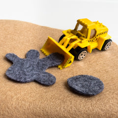 Construction Playmat - White Truck and Vehicle fabric