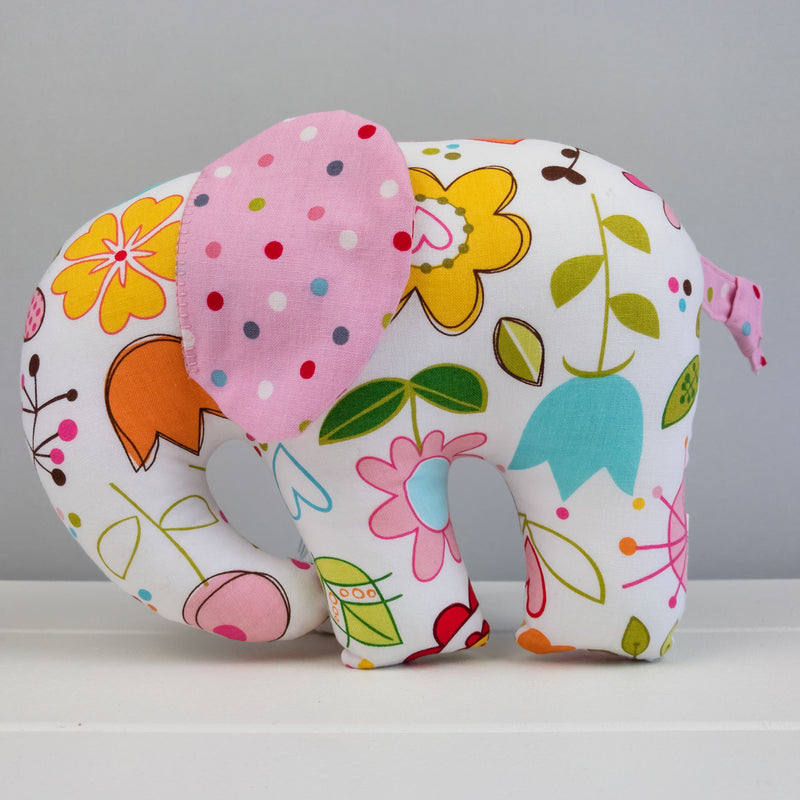 Elephant Softie, large - White with Flowers fabric