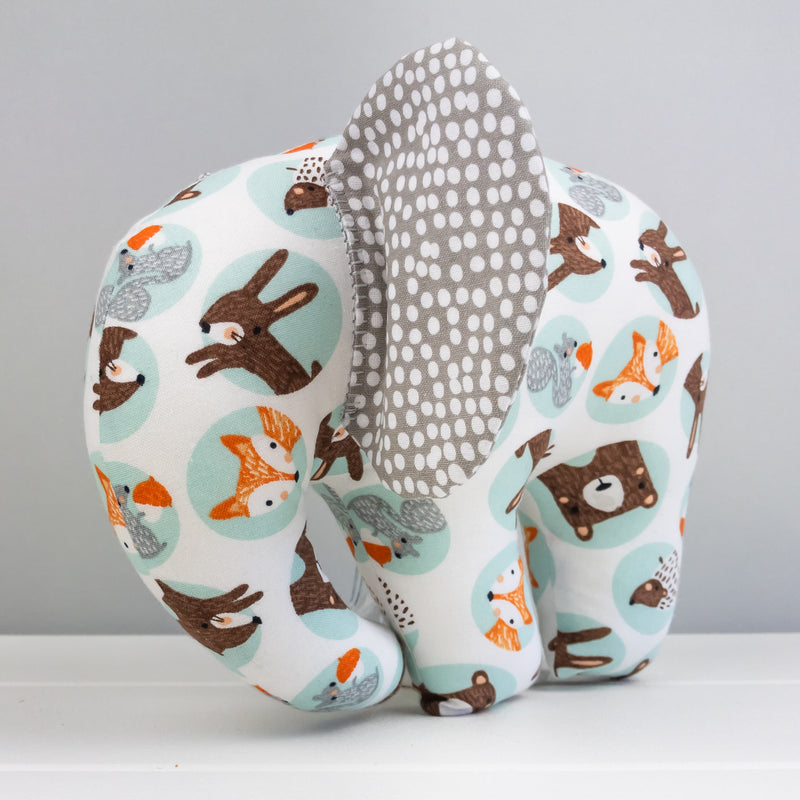 Elephant Softie, large - Woodland Animals fabric
