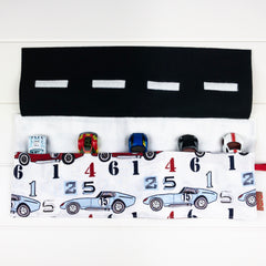 Car Playmat - White Race Car fabric