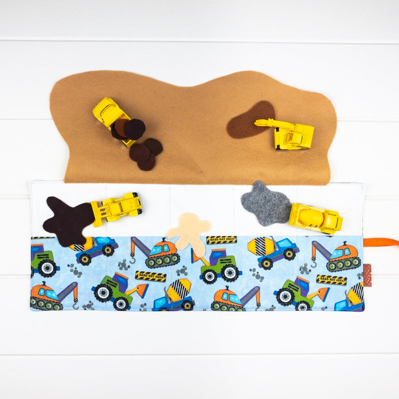 Construction Playmat - Light Blue Truck fabric
