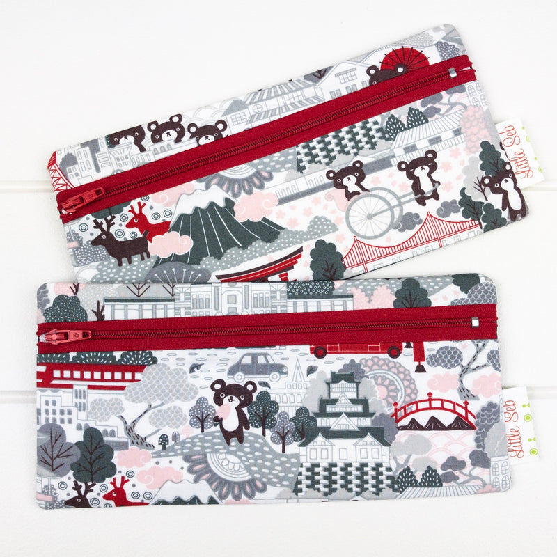Pencil Case - Traveling Bears fabric