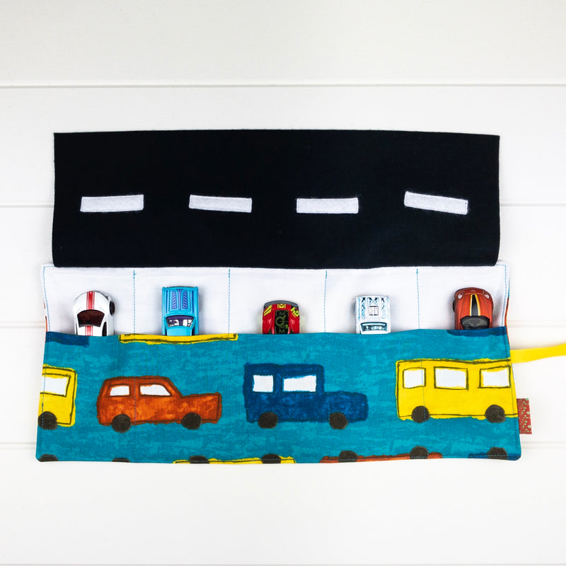 Car Playmat - Dark Aqua Big Cars fabric