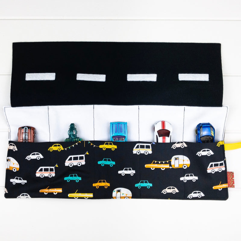 Car Playmat - Black with Bunting fabric