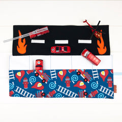 Fire Engine Playmat - Blue with Ladders and Fire Trucks fabric