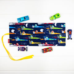 Car Playmat - Navy Racing Mice fabric