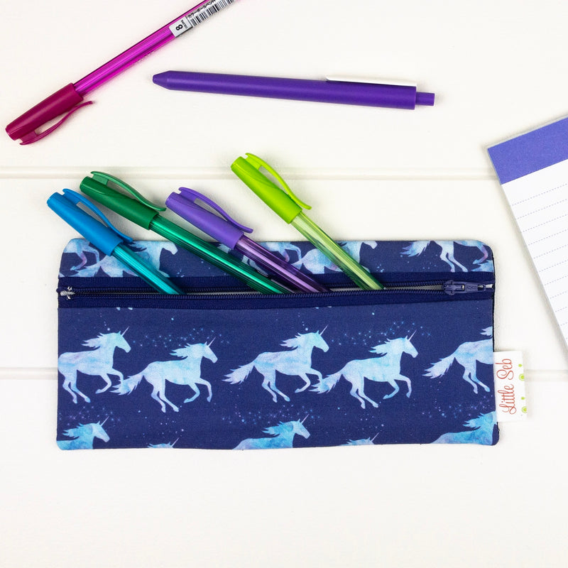 Pencil Case - Unicorn fabric
