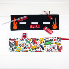 Fire Engine Playmat - White Truck and Vehicle fabric