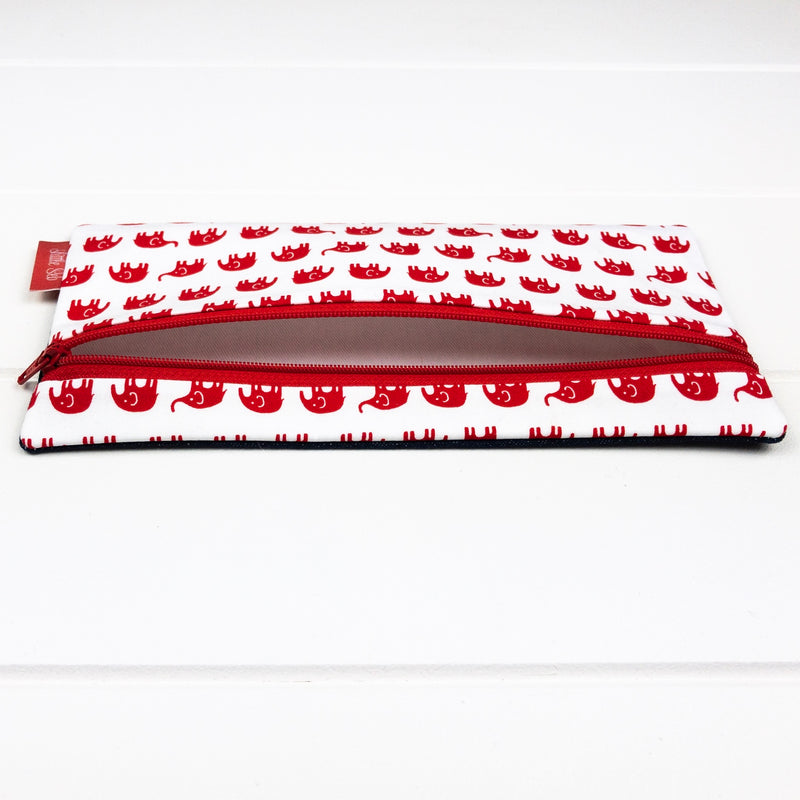 Pencil Case - Red Elephant fabric