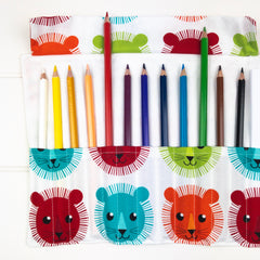 Pencil Wrap - Colourful Lion Head fabric