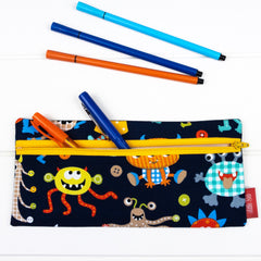 Pencil Case - Navy Monster fabric