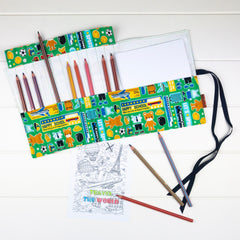 Pencil Wrap - Happy School Bear fabric