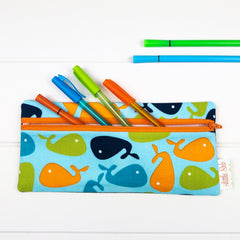 Pencil Case - Whale fabric