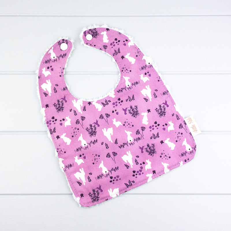 Easter Baby Bib - Purple with Bunnies fabric