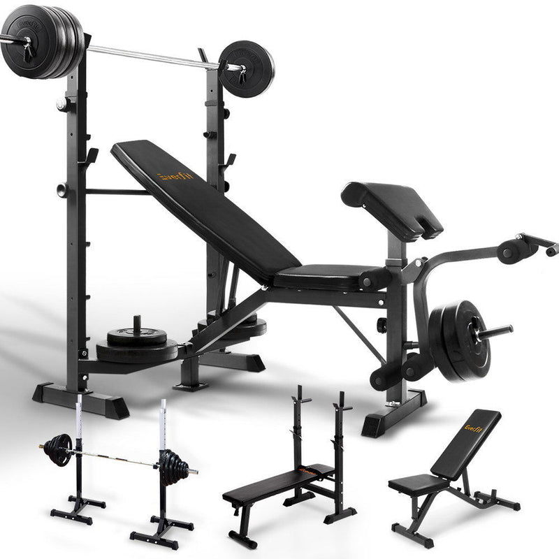 Everfit Weight Bench Squat Rack Sit Up Bench Chin Up Fid Bench Eagle Eye Fitness