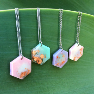Pastel Rainbow Resin Jewelry Hexagon necklaces