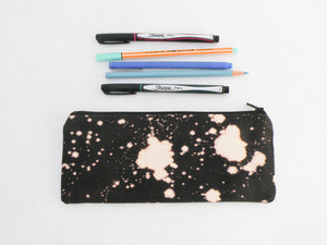 Bleach Dyed Black Canvas Pencil Case