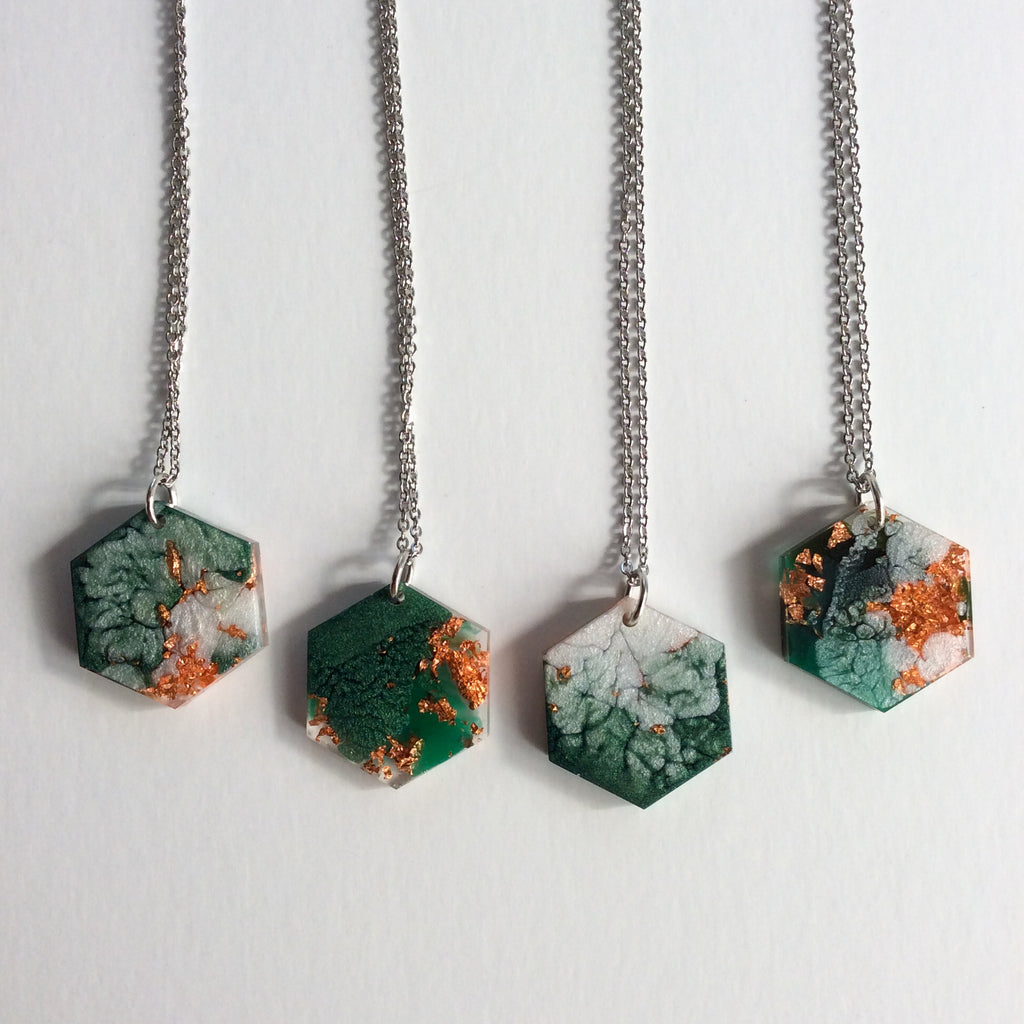 Emerald Green and Copper Hexagon Necklace - Starlight Bags