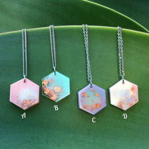 Pastel Metallic Hexagon Necklace - Starlight Bags