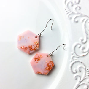 Hexagon Earrings - Bubblegum Pink - Starlight Bags