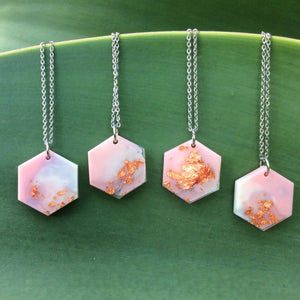 Pastel Pink Metallic Hexagon Necklace - Starlight Bags