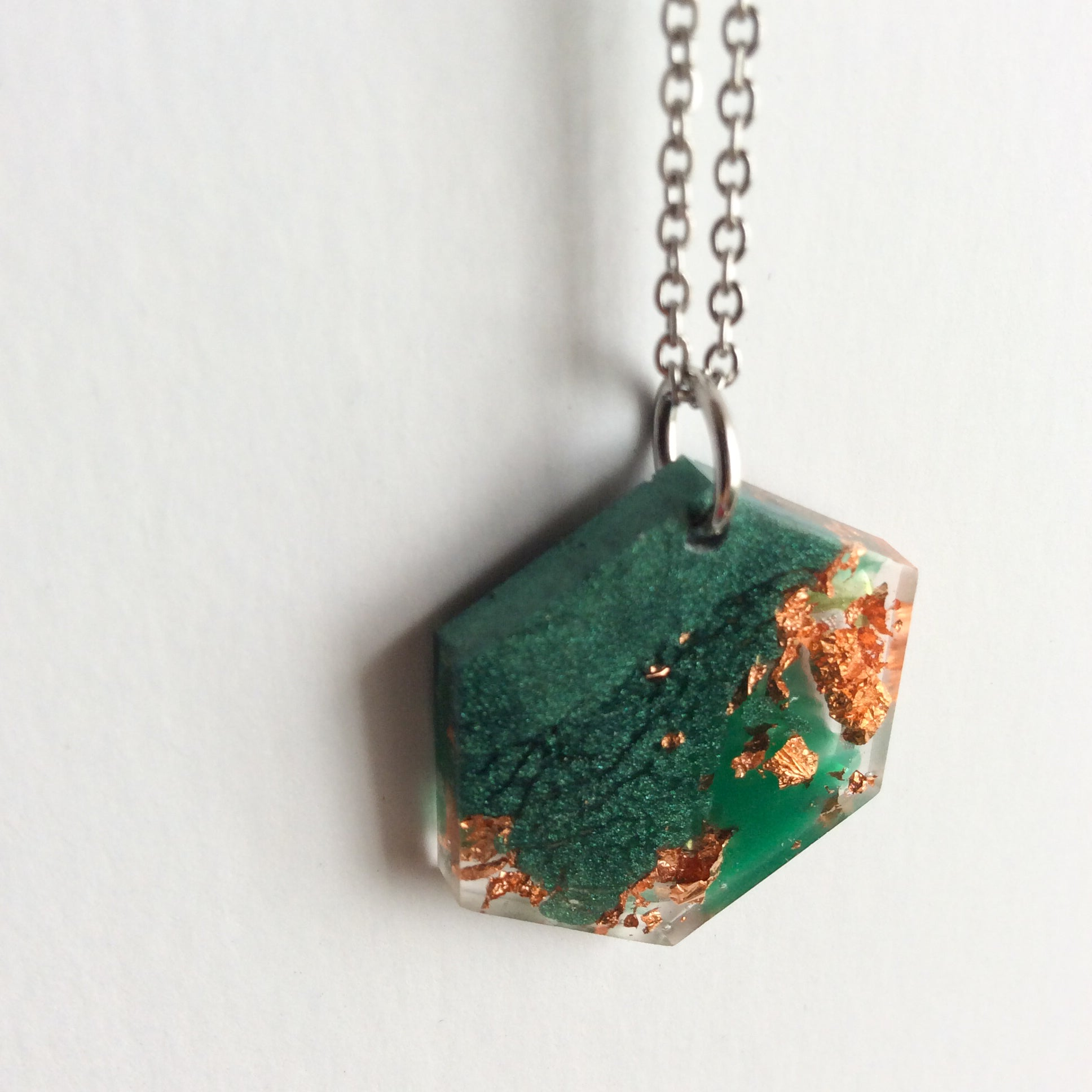 Emerald Green and Copper Hexagon Necklace