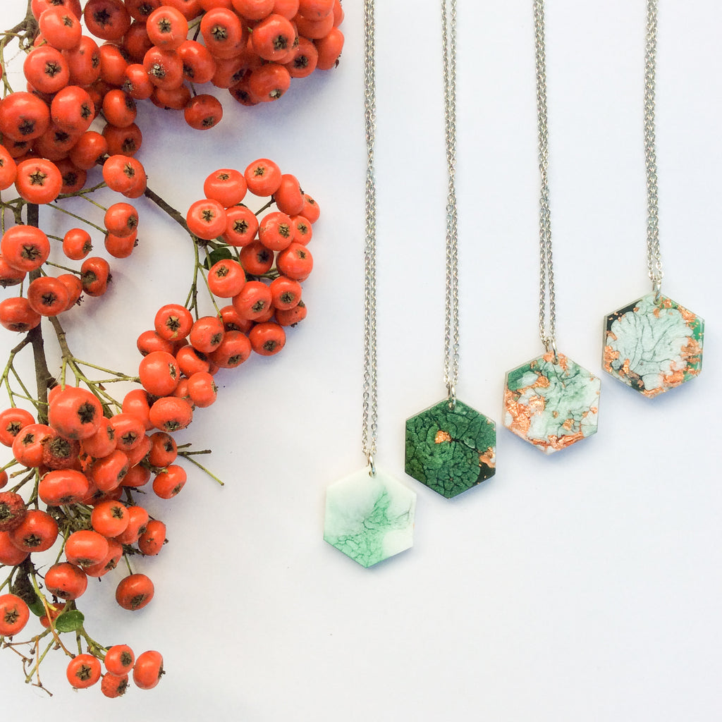 Emerald Green and Copper Christmas Necklace - Starlight Bags