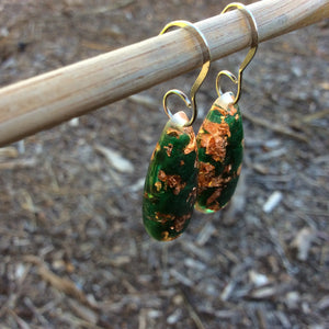 Green and Copper Holiday Gem Earrings