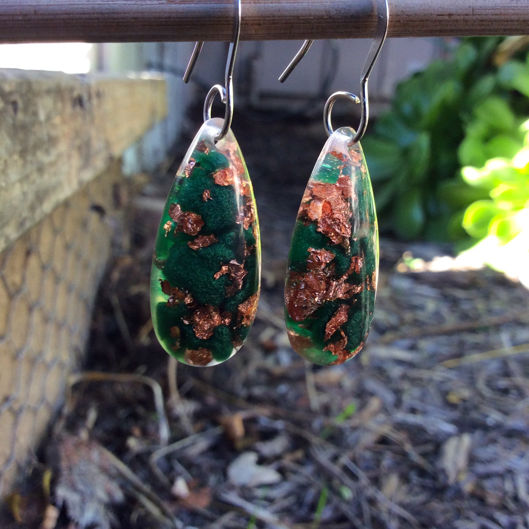 Green and Copper Holiday Gem Earrings - Starlight Bags