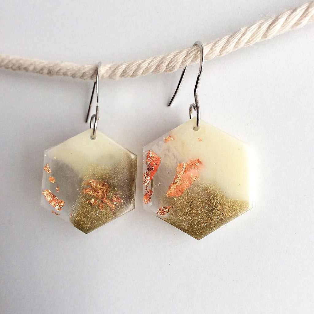 Neutral Tone Hexagon Earrings - Khaki, Copper, Moss