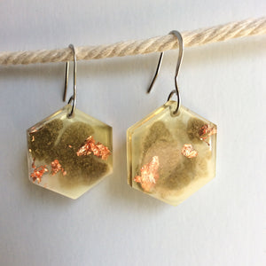 Tan Hexagon Earrings - Starlight Bags