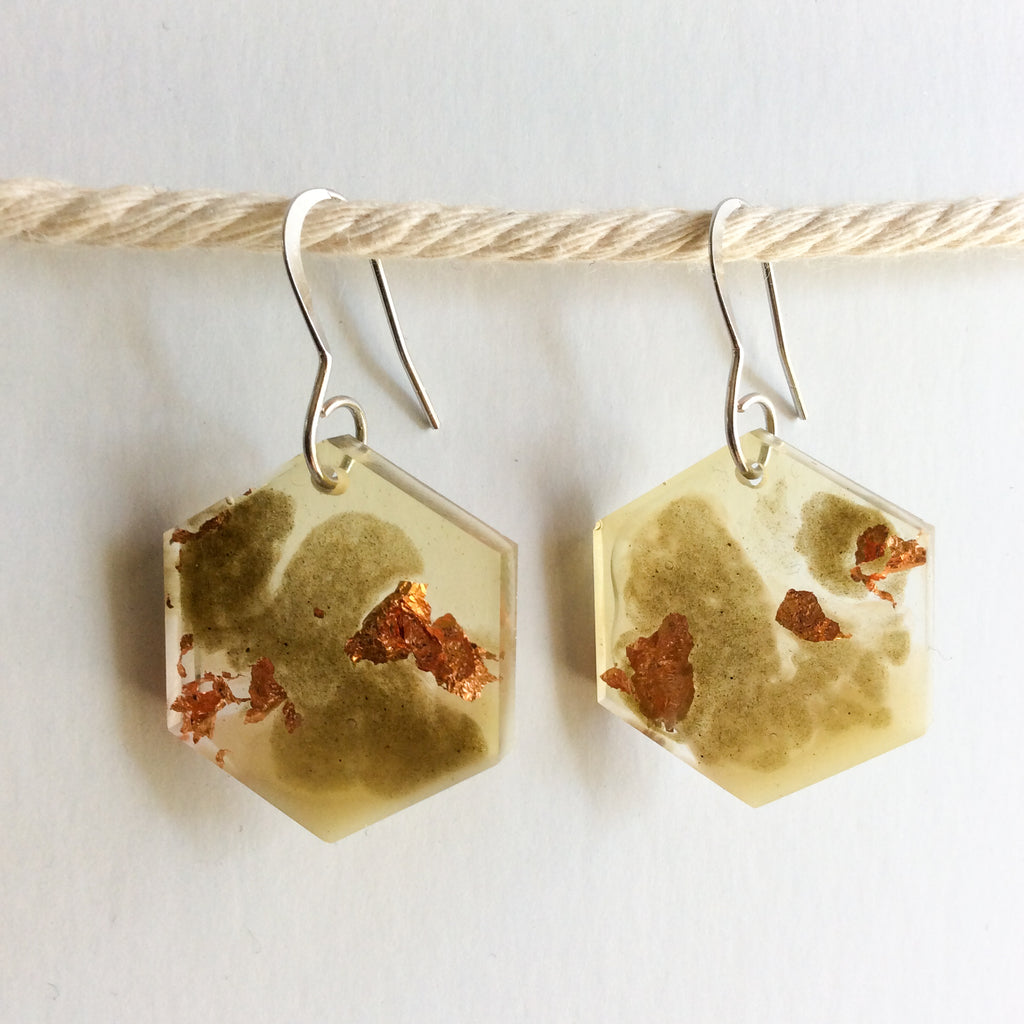 Neutral Tone Mossy Hexagon Earrings