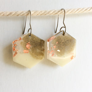 Neutral Toned Hexagon Earrings - Starlight Bags