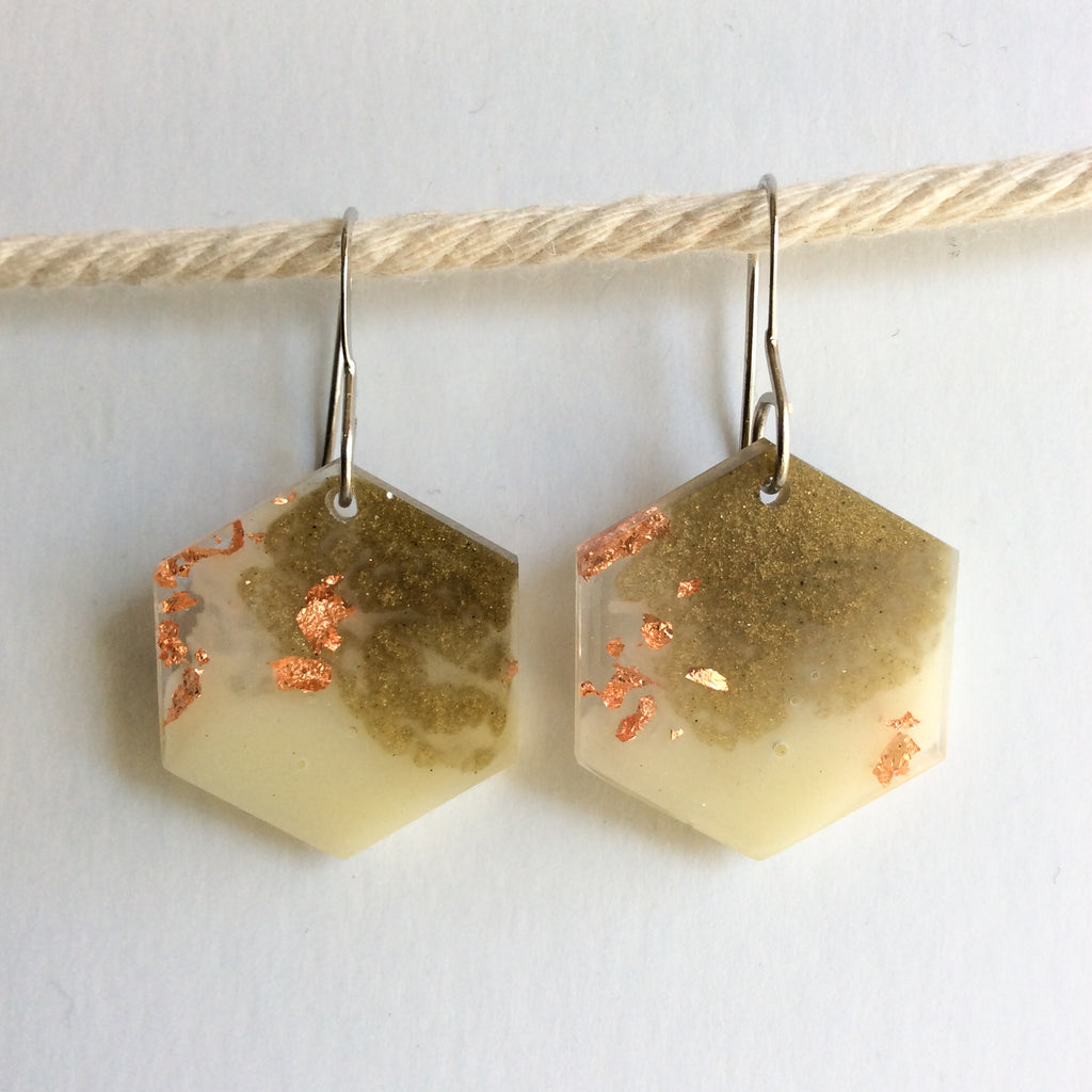 Neutral Toned Hexagon Earrings