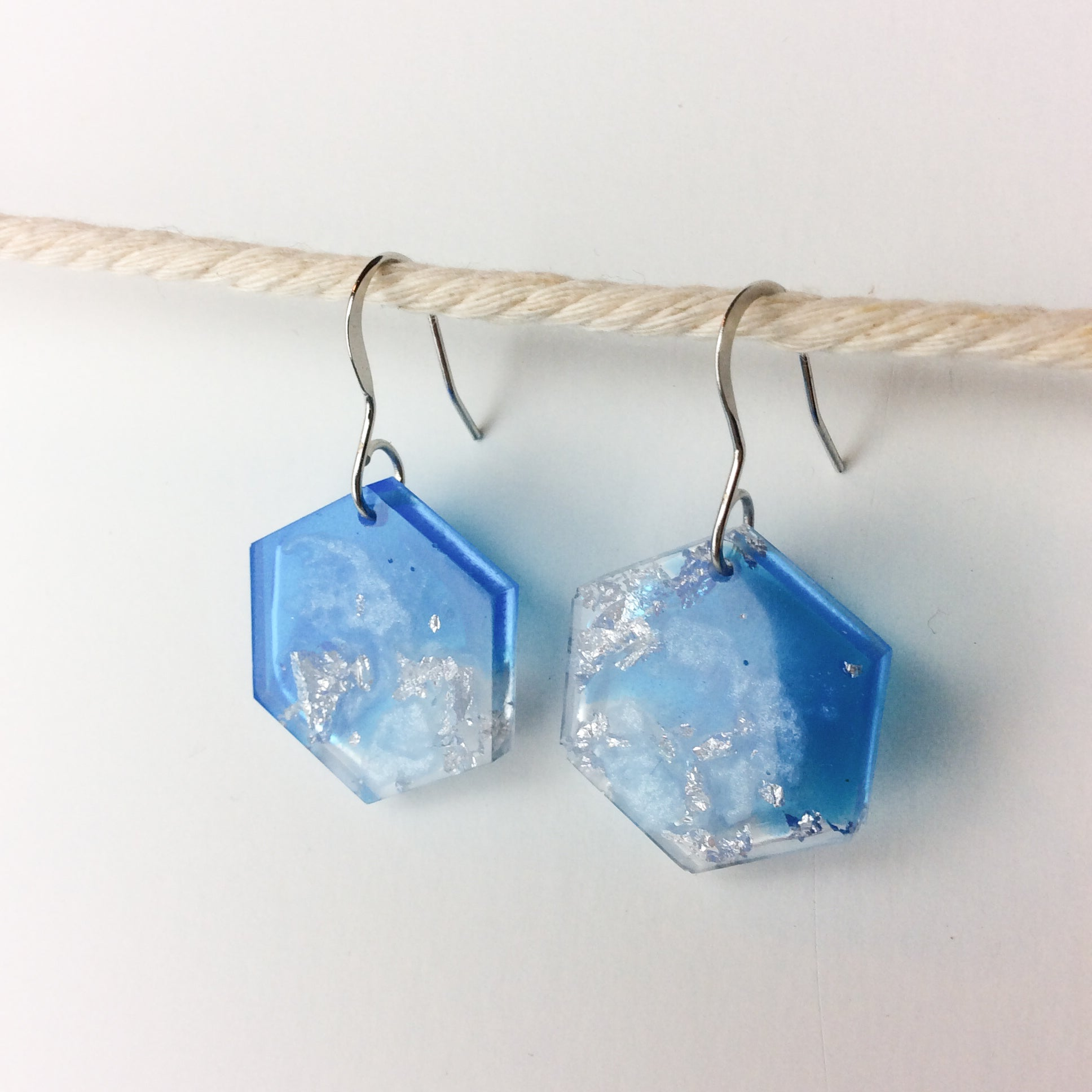 Hexagon Earrings Glacier Blue & Silver - Starlight Bags