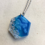 Ice Blue and Silver Hexagon Necklace - Starlight Bags