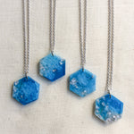 Ice Blue Metallic Hexagon Necklaces - Starlight Bags