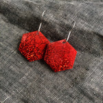 Ruby Red Hexagon Earrings - Starlight Bags
